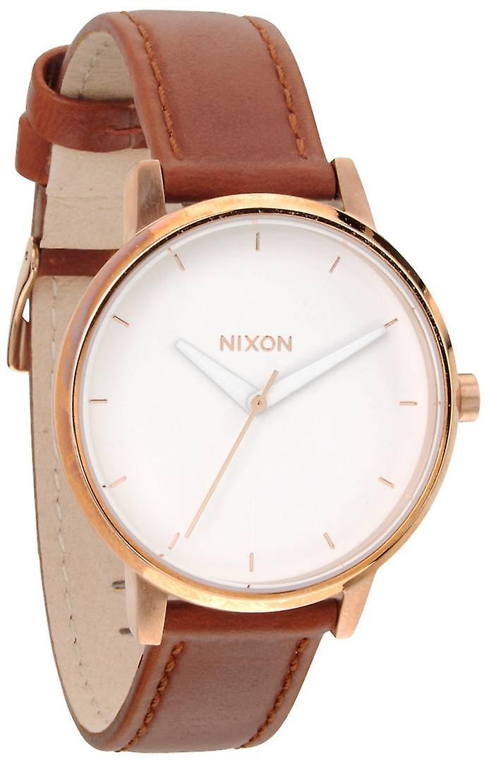 Nixon The Kensington Leather Watch - Rose Gold/White