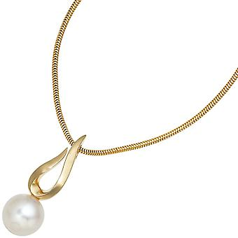 Pearl pendant 585 gold yellow gold partially frosted 1 Freshwater Pearl