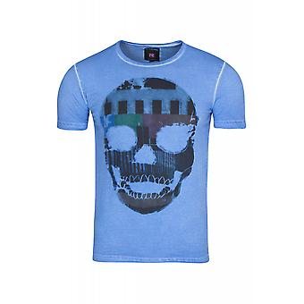 RUSTY NEAL skull men's T-Shirt Navy shirt with skull and crossbones