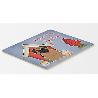 Dog House Collection Pug Brown Kitchen or Bath Mat 20x30