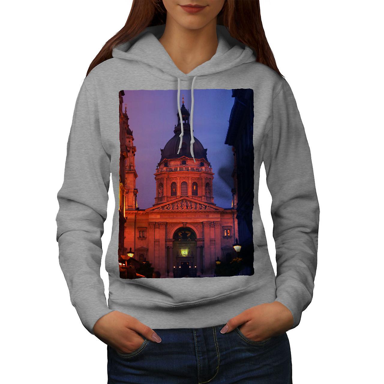 Église de nuit Budapest femmes grisHoodie