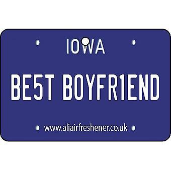 Iowa - Best Boyfriend License Plate Car Air Freshener