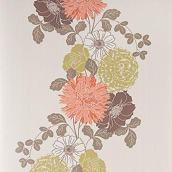 Graham & Brown Wallpaper - Flat Floral - Adore - Orange Cream - 50-035