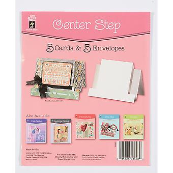 Hot Off The Press Die-Cut Cards W/Envelopes 5/Pkg-Center Step 34-28
