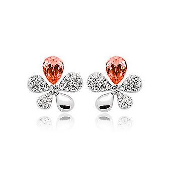 Womens Orange Crystal Stones Flower Butterflies Stud Earrings