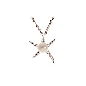 Pendant woman Starfish Pearl of culture of water soft white and Silver 925/1000