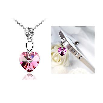 Set: Pendant and Plugy pink heart Crystal from Swarovski element