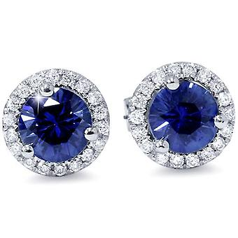 1 ct Blue Sapphire Diamond Halo Studs Earrings 10k White Gold