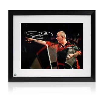 Framed Phil Taylor Signed Darts Photo: At The Oche