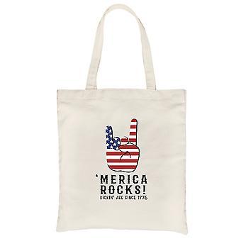 Merica Rocks Natural Canvas Shoulder Bag Independence Day Cute Gift