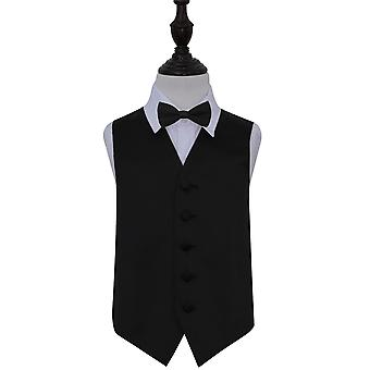 Black Plain Satin Wedding Waistcoat & Bow Tie Set for Boys