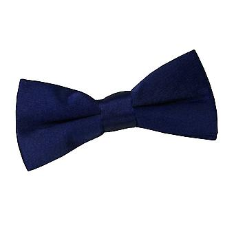 Navy Blue Plain Satin Pre-Tied Bow Tie for Boys