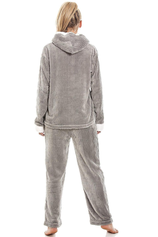Camille Womens Ladies Luxury SuperSoft Fleece Hooded Grey Pyjama Set Size 10-20