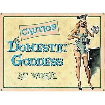 Domestic Goddess på arbeid morsomme store stål signere 400 X 300 Mm