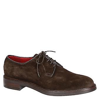 Handmade men's derby shoes in dark brown suede