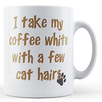 Kaffe hvit noen katt hår - trykte krus