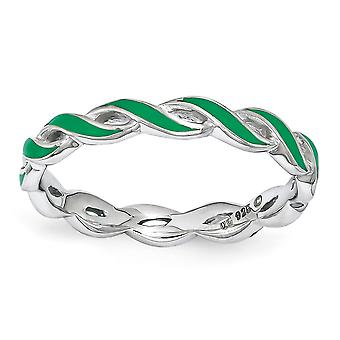 2mm Sterling Silver Polished Rhodium-plated Stackable Expressions Green Enamel Ring - Ring Size: 5 to 10