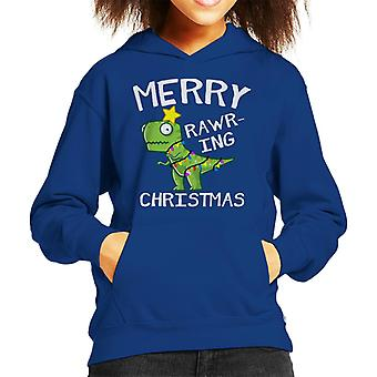 Merry Rawring Christmas Kid's Hooded Sweatshirt