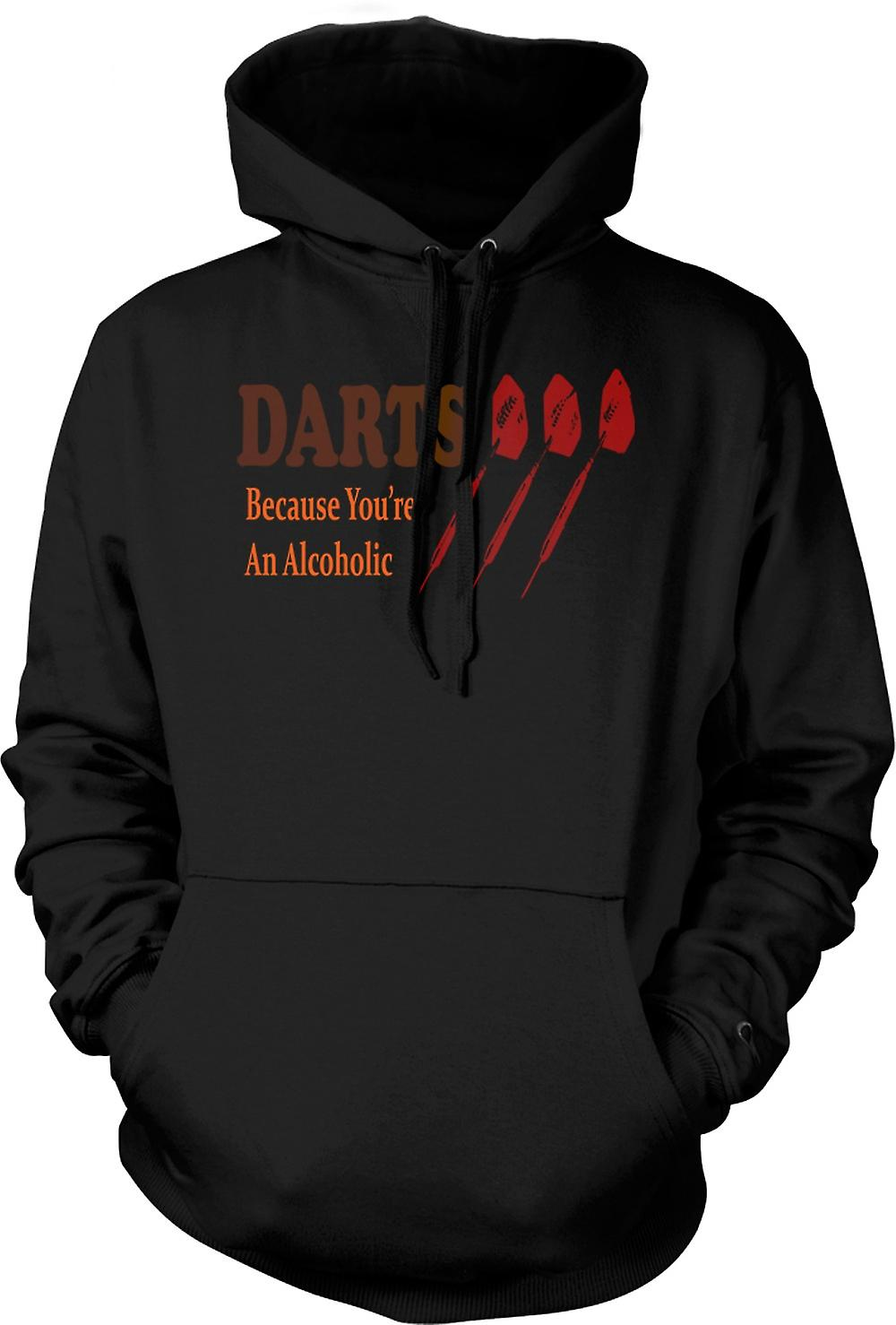 Mens Hoodie - Darts Cos You're An Alcoholic - Funny