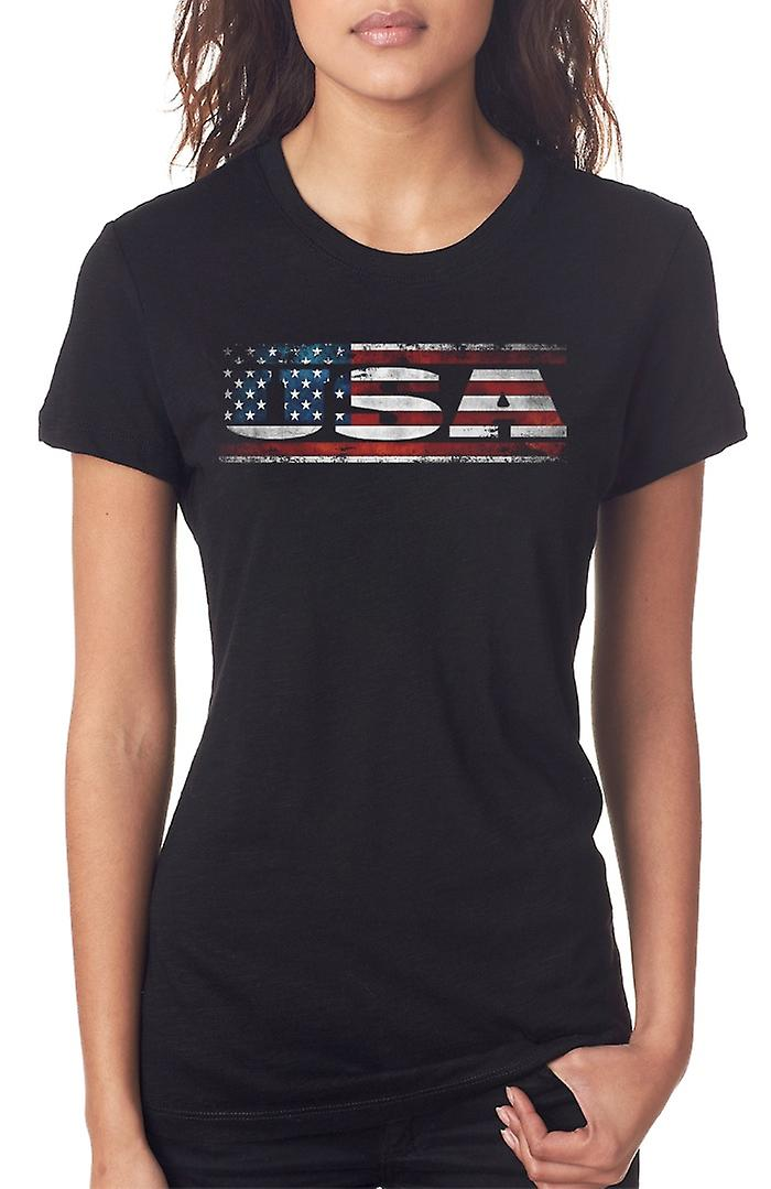 Bandiera americana USA - parole Ladies T Shirt