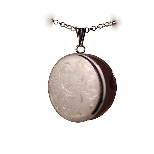 9ct Rose Gold 29mm hand engraved round Locket with a belcher chain