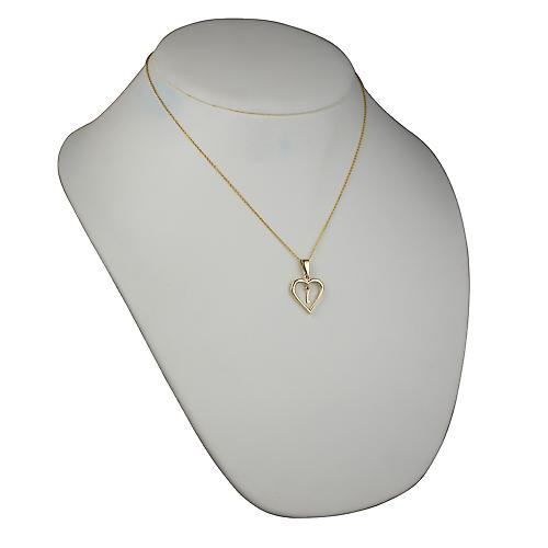 9ct Gold 18x18mm initial L in a heart Pendant with a cable Chain 18 inches