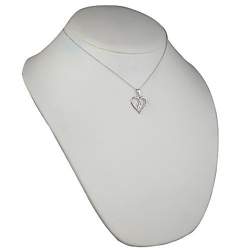 Silver 18x18mm initial W in a heart Pendant with a rolo Chain 16 inches Only Suitable for Children