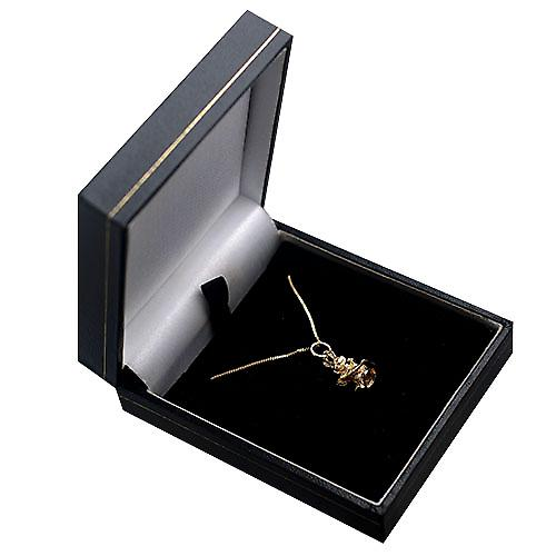 9ct Gold 16x9mm Rabbit with a Carrot Pendant with a curb Chain 16 inches Only Suitable for Children