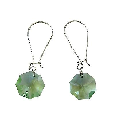 Peridot Octagon Swarovski Crystal 15mm Multifaceted Hoop Earrings