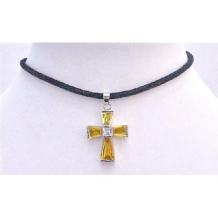 Gold Cross Pendant Necklace Leather Cord Shimmering Gold Cross Pendant