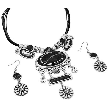 Tribal Jewelry Silver Stylish Black Enamel w/ Flower Silver Dangling