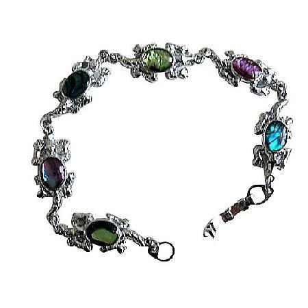 Turtle Charm Abalone Shell Bracelet