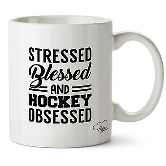 Hippowarehouse Stressed Blessed And Hockey Obsessed Printed Mug Cup Ceramic 10oz