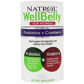 Natrol WellBelly for Women Probiotics + Cranberry 30 Capsules