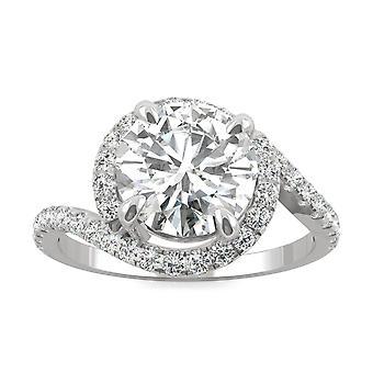 14K białe złoto Moissanite przez Charles idealna Colvard 8mm okrągłe pierścionek zaręczynowy, 2.24cttw rosy