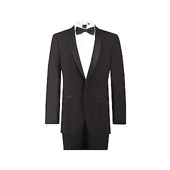 Dobell Mens Black 2 pezzo Tuxedo Regular Fit con revers scialle