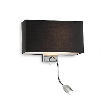 Ideal Lux Hotel Twin Black Shade Wall Light With Chrome LED Reading Light
