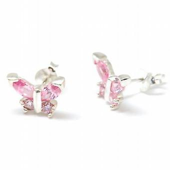 The Olivia Collection Sterling Silver Butterfly Earrings With Pink Cz
