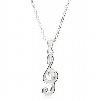 Jo For Girls Sterling Silver Treble Clef Pendant on 14 Inch Chain