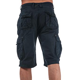 Mens Crosshatch Black Label Chaseforth Cargo Shorts In Navy-Button Fastening-