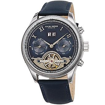 Akirbos XXIV AK1065BU Men's Open Heart Automatic Multifunction Leather Strap Watch