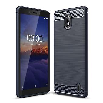 Nokia 1 plus TPU cas fibre de carbone optique brossé étui de protection bleu