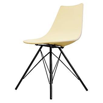 Chaise de salle à manger en plastique iconique de fusion vivant avec des jambes en métal noir