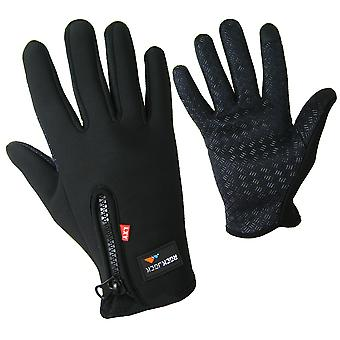 Fleece Lined Sports Gloves With Touch Screen Function Black