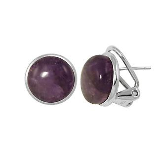 Eternal Collection Grace Amethyst Cabochon Sterling Silver Stud Pierced Earrings