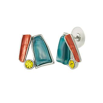 Eternal Collection Panama Rainbow Multi Enamel Silver Tone Stud Pierced Earrings