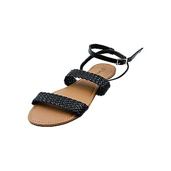 Sara Z Ladies Pu 2-Band Sandal With Woven Upper