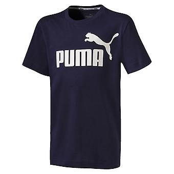 Puma Essentials Logo Kids Short Sleeve Sports T-Shirt Tee Navy Blue