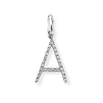 Jewelco London 9ct Bianco Oro Ladiesi Diamante Fascino Iniziale Ciondolo Lettera A 9mm x 16mm