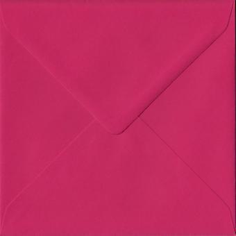 Fuchsia Pink Gummed 155mm Square Coloured Pink Envelopes. 100gsm FSC Sustainable Paper. 155mm x 155mm. Banker Style Envelope.